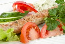 Grilled Meat With Fresh Vegetables Royalty Free Stock Image