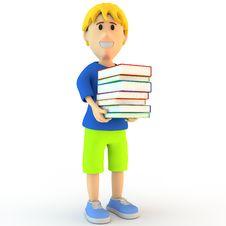 Free 3d Cartoon School Boy Stock Photo - 25719100