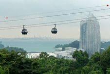 Free Cable Cars Passing By Skyscraper Royalty Free Stock Photography - 25722707