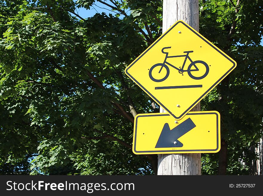 Bicycle path road sign