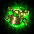 Free Green Earth Wirh Aura Breaking Golden Chain Stock Photo - 25732520