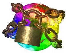 Free Rainbow Earth Breaking Golden Chain Royalty Free Stock Photos - 25732548