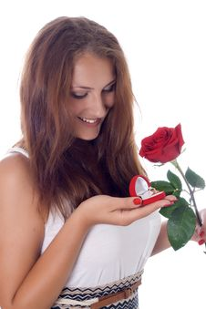 Free Girl Holding Jewellery Gift Box And Flower. Royalty Free Stock Photography - 25736977