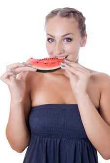Free Girl With Watermelon Royalty Free Stock Photography - 25737147