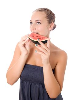 Free Girl With Watermelon Stock Image - 25737171