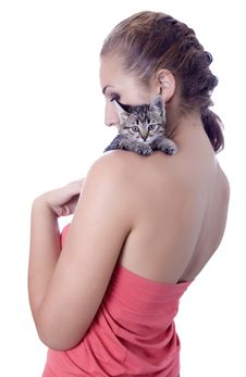 Free Young Woman Portrait With Kitten Royalty Free Stock Photos - 25737218