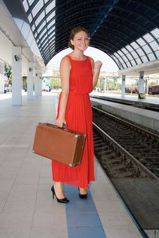 Free Woman Was Late For The Train Stock Photos - 25737433