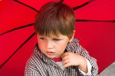 Boy With The Umbrella Stock Photography