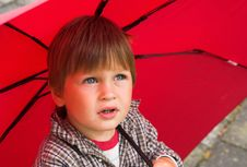 Boy With The Red Umbrella