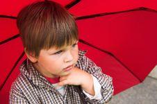 Little Boy With The Umbrella Stock Photos