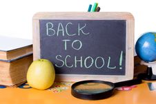 Free Back To School Word On Board, Books And Globe Royalty Free Stock Photography - 25739187