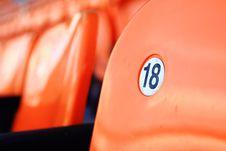 Orange Seat Number 18 Stock Photo