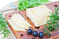 Free The Composition Of Cheese, Lettuce And Olives. Royalty Free Stock Images - 25741539