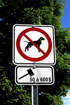 No Dog And Fine Signs Stock Images