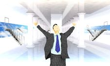 Free Excited Business Man With Arms Raised In Success Stock Images - 25743404