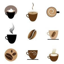 Free Coffee Icons Set Royalty Free Stock Photography - 25745547
