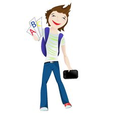 Boy Standing Smiling With Tablet Stock Images