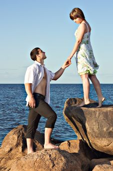 Free Couple In Love On The Lake Stock Images - 25748164