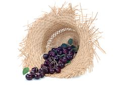 Free Sweet Cherry In A Straw Hat Stock Photos - 25748733