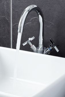 Sink Tap In Contemporary Bathroom Royalty Free Stock Image