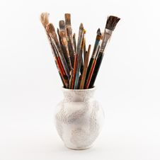 Free Jug With Brushes Royalty Free Stock Images - 25754809