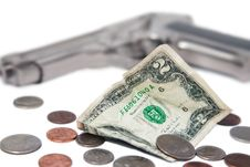 Free Money And A Gun Stock Images - 25757314