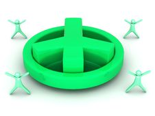 Free Big Green 3D Peace Sign Royalty Free Stock Image - 25757376