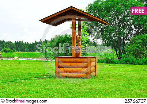 Landscape with draw-well and river Stock Photo