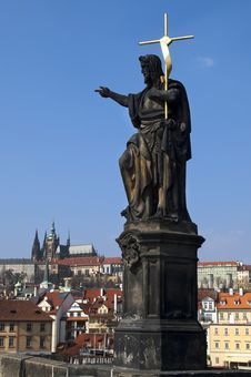 Free Statue On Charles Bridge , Prague Stock Images - 25763034