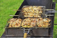 Tasty Grill Kebab On A Charcoal Royalty Free Stock Photos