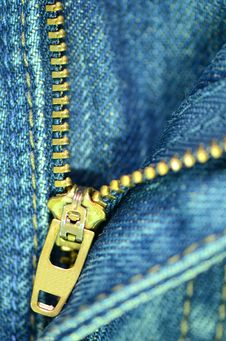 Zip Of Blue Jeans. Royalty Free Stock Image