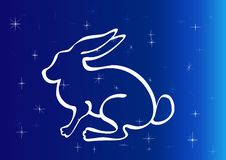 Free Rabbit Silhouette On Starry Sky. Stock Images - 25767454