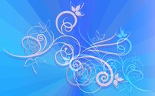Free Floral Ornament On Blue Rays Royalty Free Stock Image - 25767456