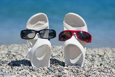 Free Funny Sandals On The Beach Stock Photos - 25769083