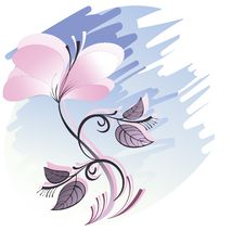 Banner With  A Pink Flower Royalty Free Stock Image