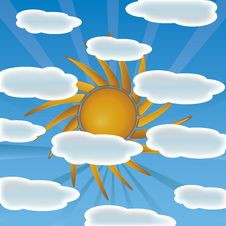 Sun With Clouds Vector Royalty Free Stock Images