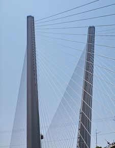 Free Pylons Strung With Guys. Detail Of The Bridge Royalty Free Stock Images - 25775809