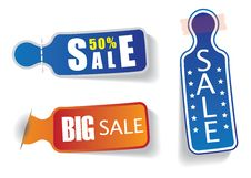 Colorful Labels With 50 Sale & Discount Messages Stock Photography