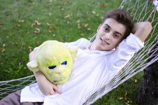 Free Young Man In A Hammock Royalty Free Stock Photography - 25776747