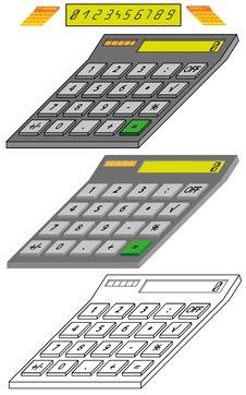 Free Digital Calculator Model In Isometric View Stock Image - 25779151