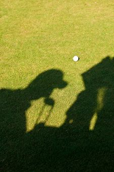 Silhouette Of A Golfer Royalty Free Stock Image