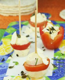 Cheese Skewers With Tomatoes Stock Images