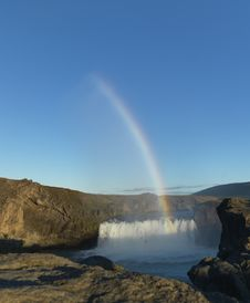 Free Rainbow Over Waterfall In Iceland Royalty Free Stock Photos - 25784808