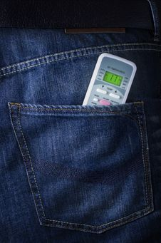Free Remote From Air Conditioner In Jeans Poket Royalty Free Stock Image - 25787596