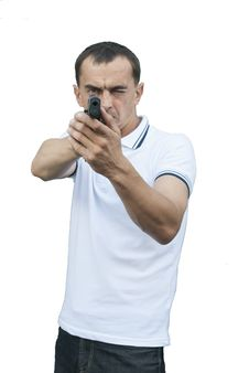 A Man Aiming A Gun Stock Images