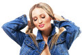 Free Lovely Woman In Denim Jacket Royalty Free Stock Photos - 25791768