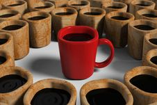 Free Red Cup Among Dirty Cups Royalty Free Stock Images - 25790489