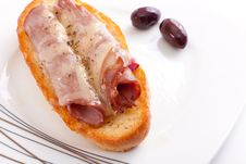 Salami Sandwiches Royalty Free Stock Photo