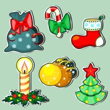 Six Christmas Labels Royalty Free Stock Images