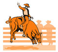 Free Cowboy Riding A Bucking Bull Royalty Free Stock Images - 2580099